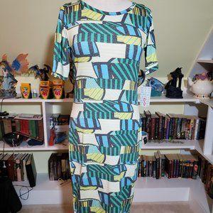 Lularoe Blue Green Striped Julia Dress S NWT